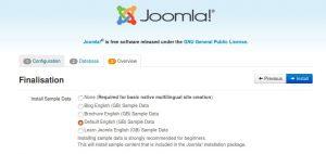 nstalling Joomla, finalisation