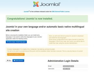 Installing Joomla, finished