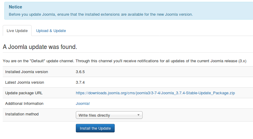 joomla update process